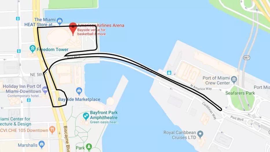 Планът за трасето в Маями