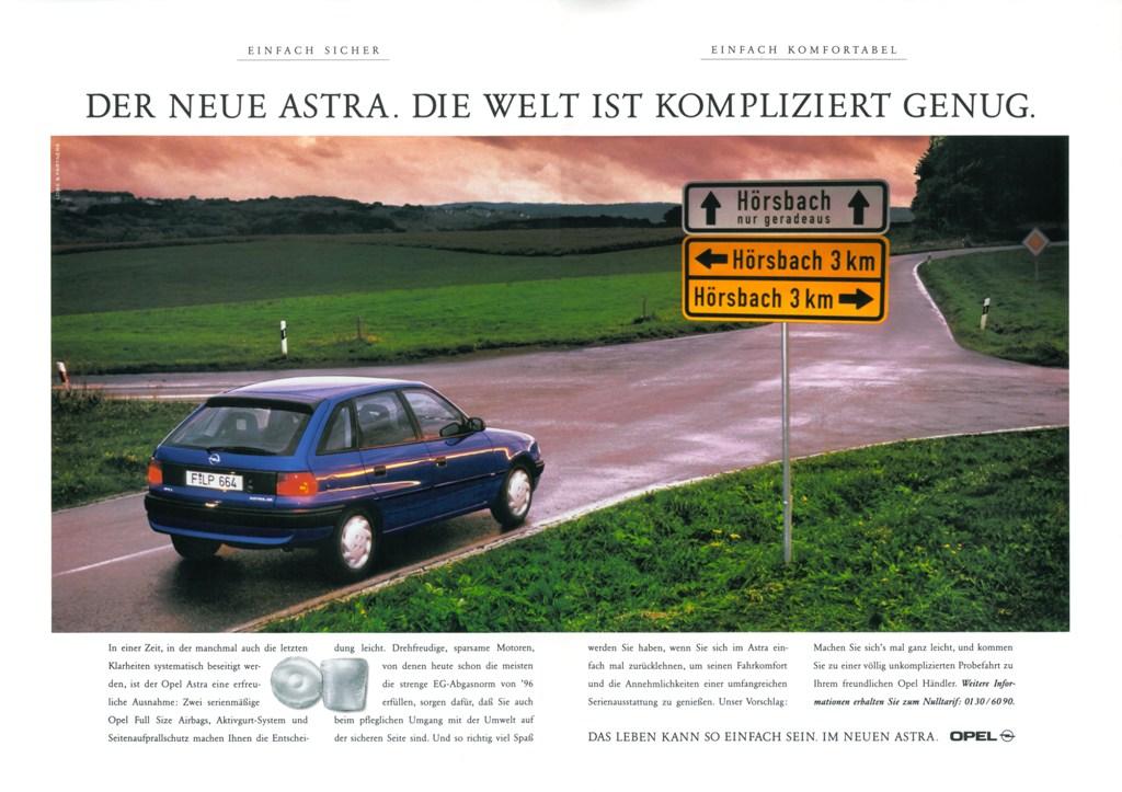Opel-Werbeanzeige für den facegelifteten Astra, 1994